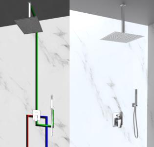 kit doccia soffione soffitto e doccino in acciaio inox