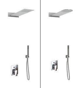 kit doccia soffione quadrato o tondo e doccino in acciaio inox