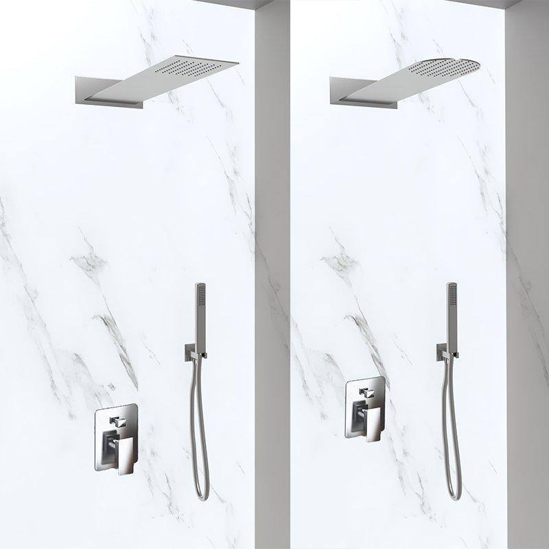 kit doccia con soffione e doccino in acciaio inox
