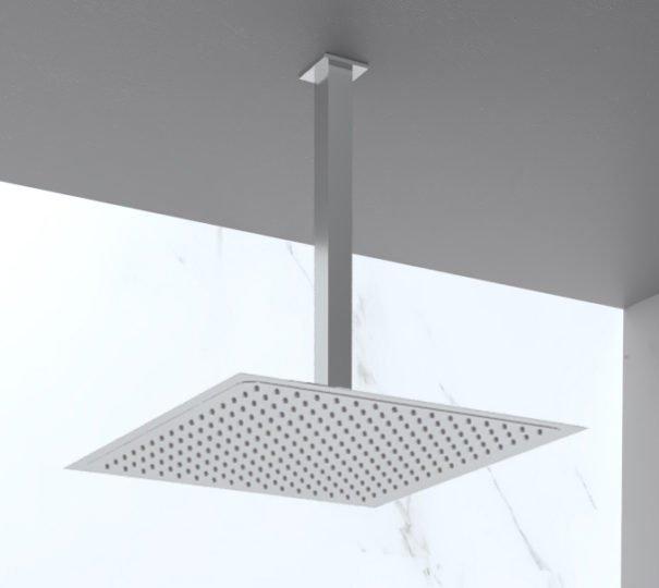 Soffione doccia soffitto quadrato in acciaio inox